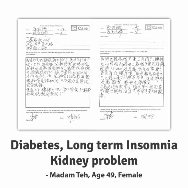 Madam Teh ~ Diabetes, Long Term Insomnia & Kidney Problem