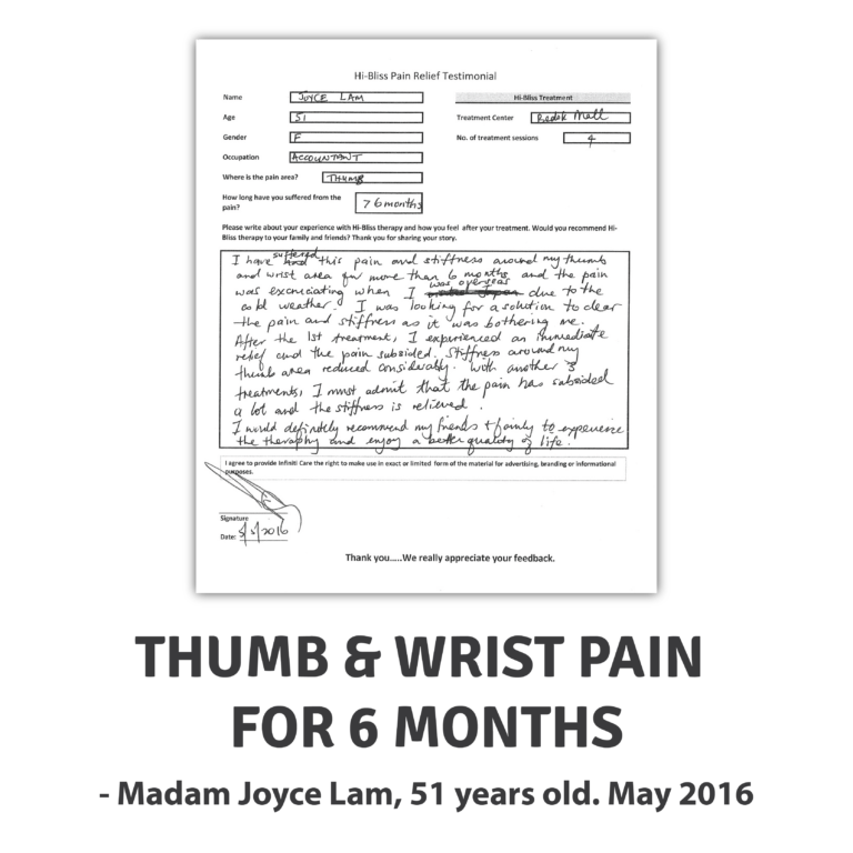 THUMB & WRIST PAIN FOR 6 MONTHS